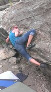 Rock Climbing Photo: Sarah cranking into the rockover.