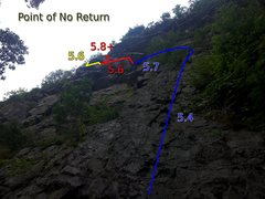 Rock Climbing Photo: Route Lines for Point of No Return