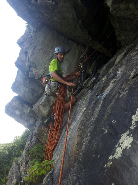 Rock Climbing Photo: Ryan at the P1 hanging belay at the end of the del...
