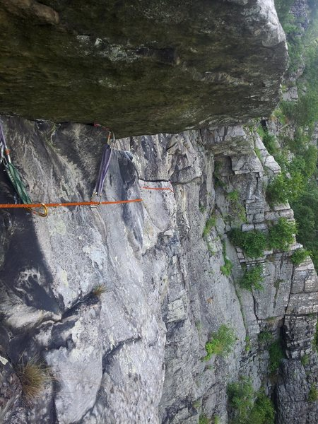 At the end of the LONG (~50 foot) traverse of the 5.6 variation.  Note the small gear (red ball nut, 0 tcu)
