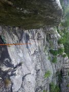 Rock Climbing Photo: At the end of the LONG (~50 foot) traverse of the ...