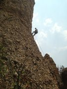 Rock Climbing Photo: Rope shows Super Chicken Route Path during Rappell...