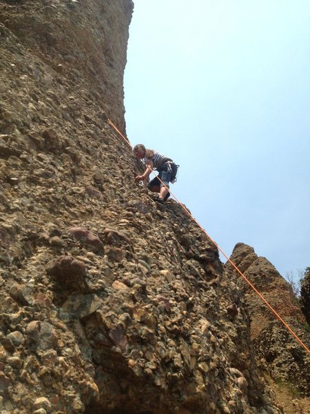 Rock Climbing Photo: Miss T cleans draws as she lowers off Super Chicke...