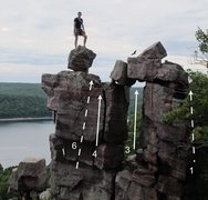 Rock Climbing Photo: Routes on Devil's Doorway: (1) Romper, (3) Doorway...