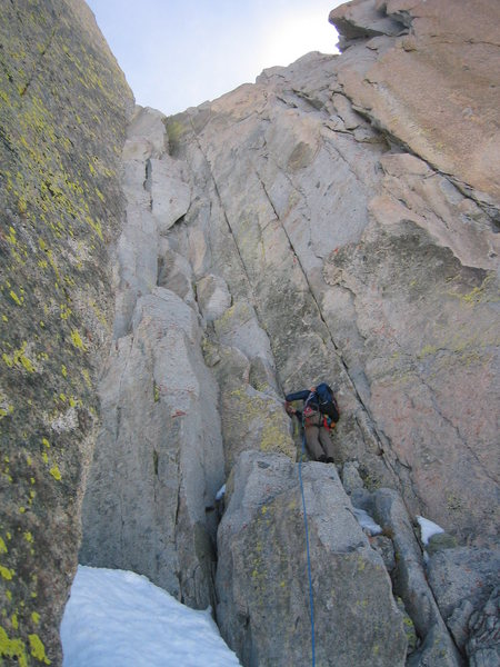 Rock Climbing Photo: Mike leading up what was the crux for me (p4 of Ad...