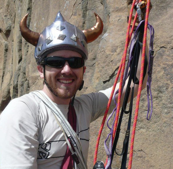 Rock Climbing Photo: Viking helmet cover, yep.