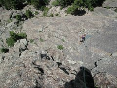 Rock Climbing Photo: Looking down on Slab 1 from the arete.
