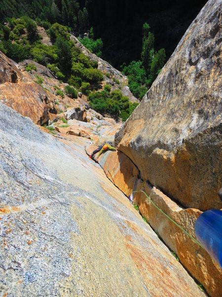 Rock Climbing Photo: John Roark following P6