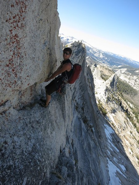 Rock Climbing Photo: Joel Morse on the exposed undercling, Matthes Cres...
