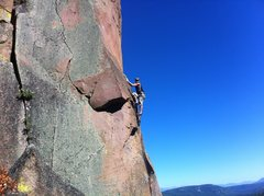 Rock Climbing Photo: Laine exiting the crux and heading into the sustai...