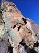 Rock Climbing Photo: The whole route in view with the option that we ch...