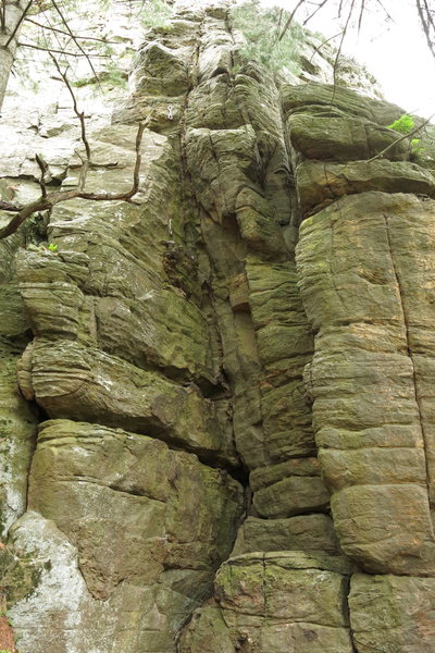 Rock Climbing Photo: The base of Air with the first two draws visible.