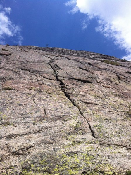 Looking up pitch 2 from 1st belay.