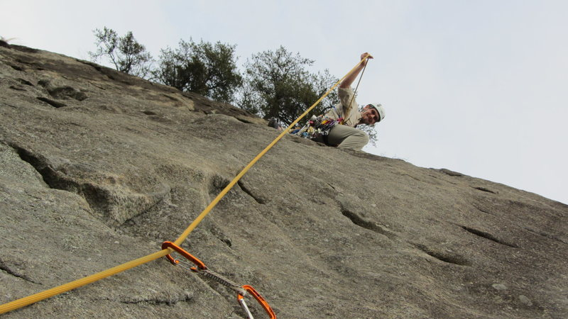 Rock Climbing Photo: Leading the part just above the first big ledge.  ...