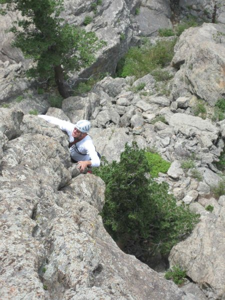 Rock Climbing Photo: Mark C. pulling through to gain the arete.