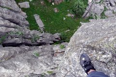 Rock Climbing Photo: Looking down the northeast side from the summit of...