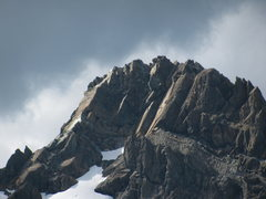 Rock Climbing Photo: The route runs from the snow in the very bottom le...