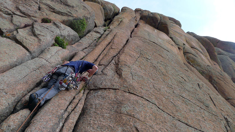 Starting up P1 of Gobbler's Grunt. Original 5.7 chimney start is on the left, 5.9 hand crack variation is on the right.