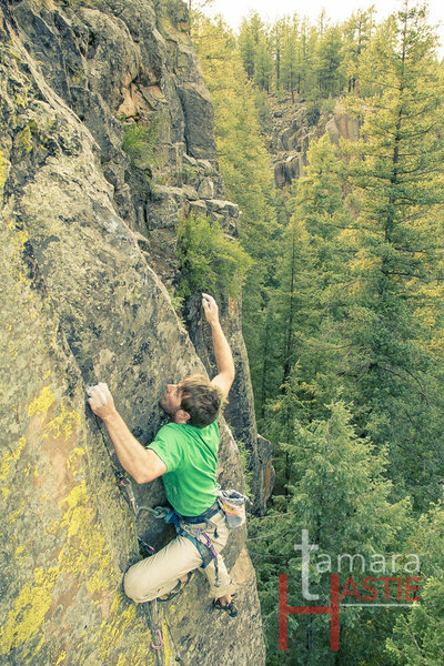 Rock Climbing Photo: J.Snyder on final boulder problem on FA of Jangala