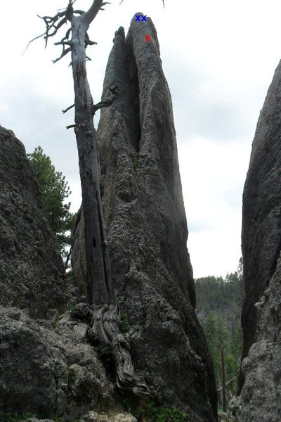 Holey Terror -- the only bolt below the anchors (red x) was perfectly placed at the crux by Dennis Hornung.