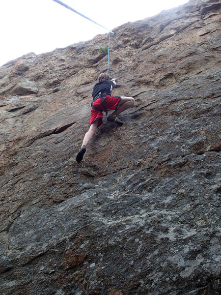 Rock Climbing Photo: Evan Luebbert tries the line.