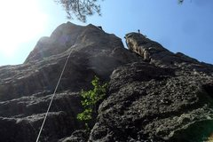 Rock Climbing Photo: Brenda works the Shark's Breath arete while a clim...