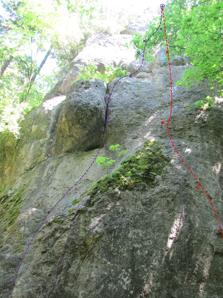 Rock Climbing Photo: Maria hilf! is in red. The start is a bit further ...