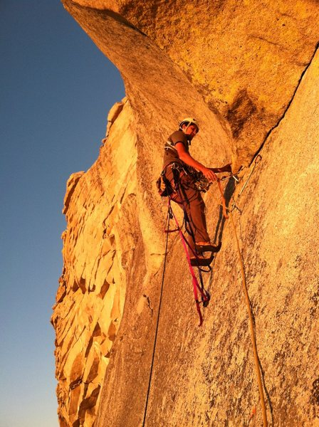 Finishing the last pitch in perfect alpenglow (Photo: Bosier Parsons)