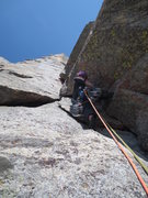 Rock Climbing Photo: Sam leading the wide crack (P3).