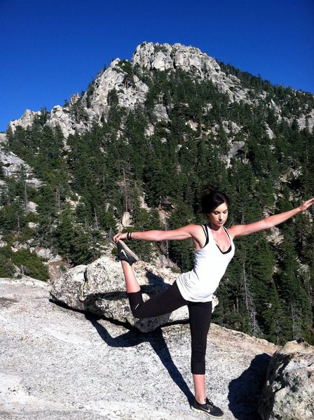 Rock Climbing Photo: Yoga on the top of Tahquitz rock after we summited...