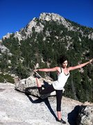 Yoga on the top of Tahquitz rock after we summited