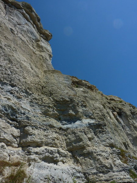 Not a good angle for the view--the lower half of the arete got blended into the wall at the back.