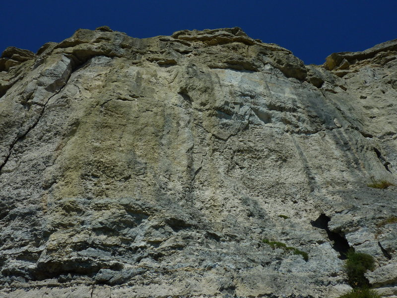 The shaded spot in the upper-center is the overhang crux.