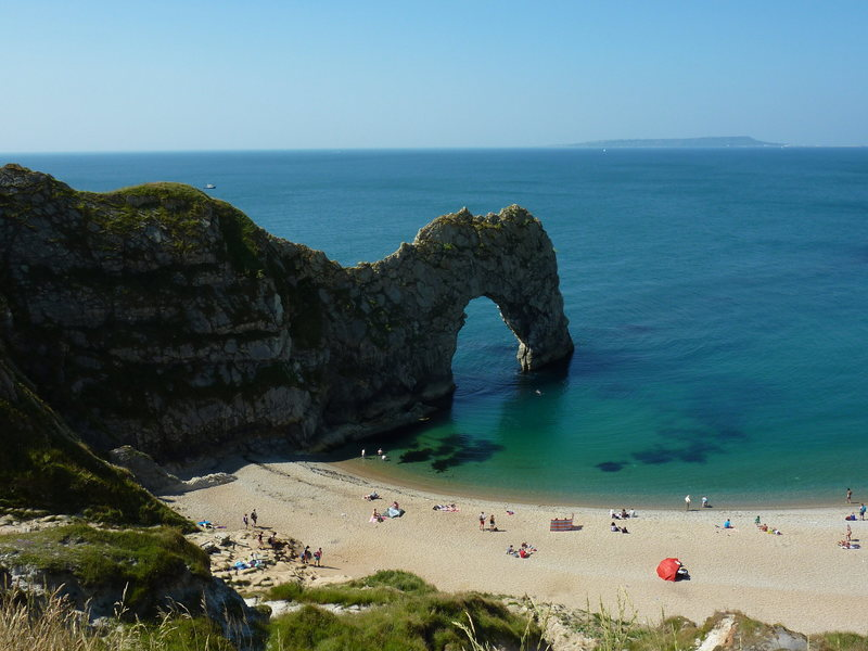 View of Durdle Door from the top of the trail.