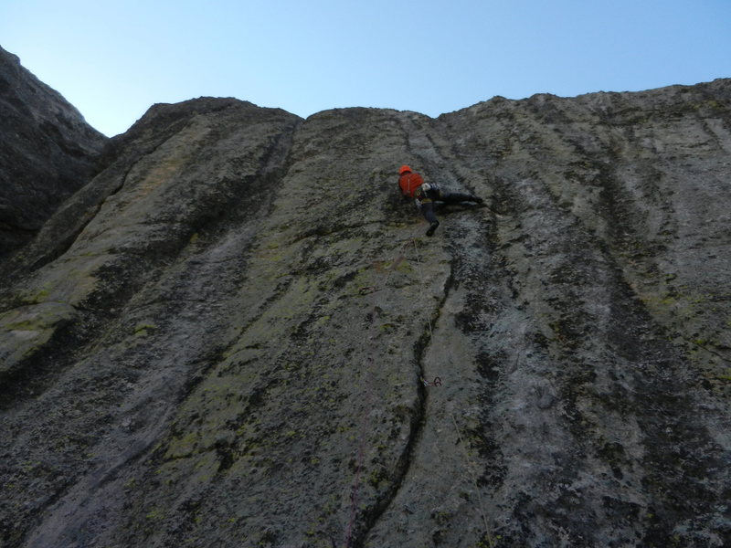 Kris working the crux section.