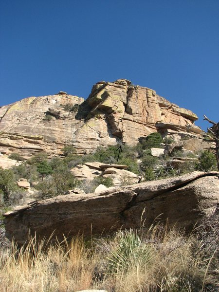 Rock Climbing Photo: The route from the approach slope.