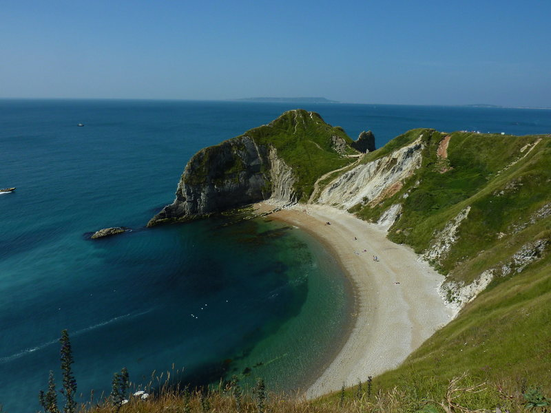 View from the approach trail to Durdle Door.