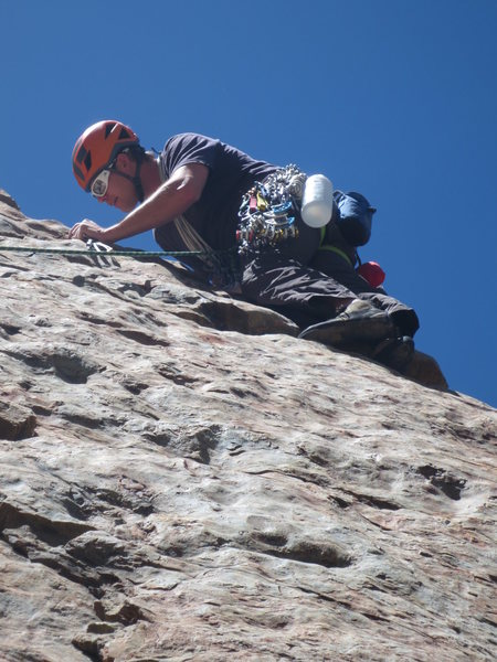 Rock Climbing Photo: Placing gear on the first pitch.