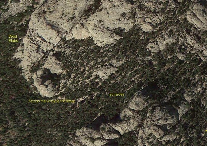 """Area showing the Ironsides, West Slabs, and routes """"across the valley""""."""