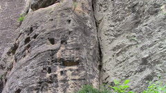 Rock Climbing Photo: Richter scale follows the series of jugs up the mi...