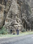 Rock Climbing Photo: Route goes basically straight up the middle of the...