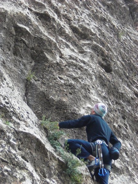 Climber Mkhitar Mkhitaryan working his way up the route. Photo taken in 2010
