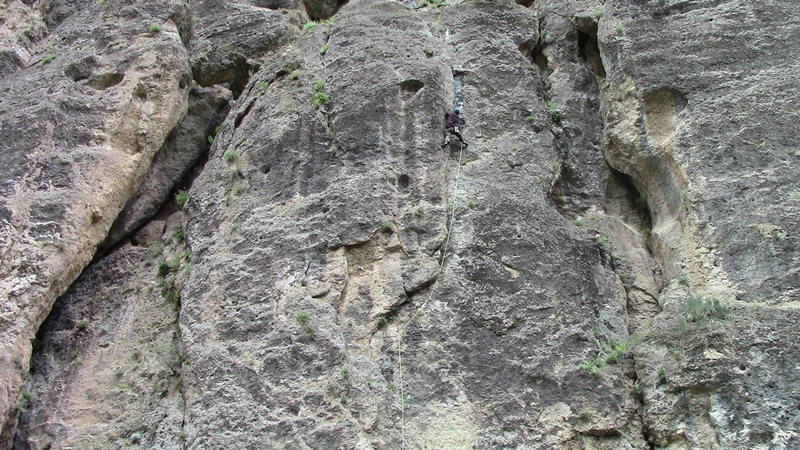 Climber nearing the anchors