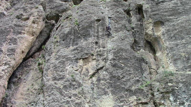 Rock Climbing Photo: Climber nearing the anchors