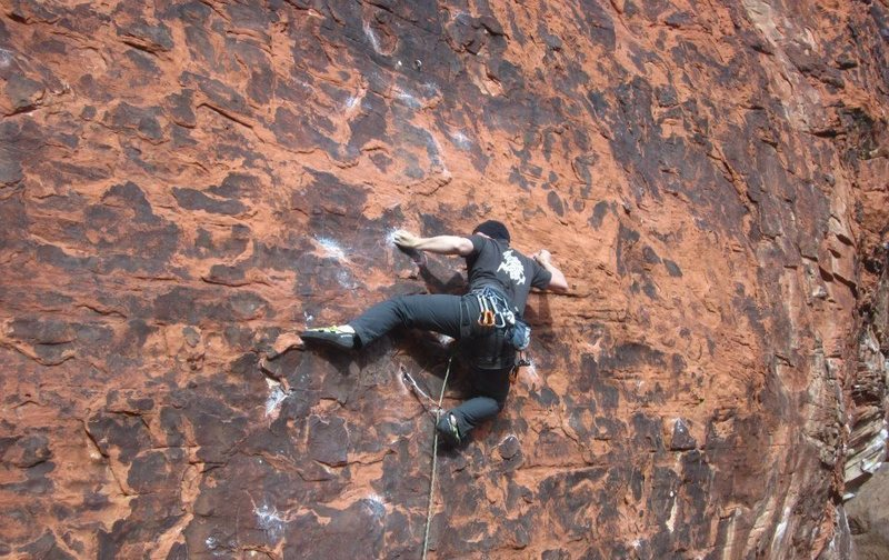 Rock Climbing Photo: Me moving through the crux on Desert Pickle 5.11c