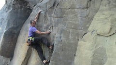 Rock Climbing Photo: French climber Simon Flechaire pulling through the...