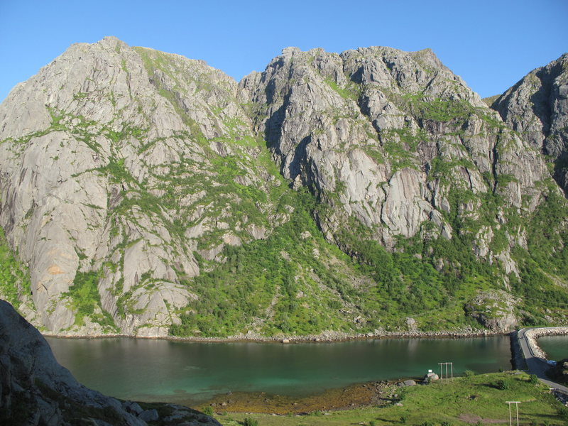 L to R:  Djupfjord Butress, Two Faces Face, Sjosvaet.  Photo taken from north shore of Djupfjord.
