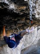 Rock Climbing Photo: Evan making a long clip on 'The Oboe'