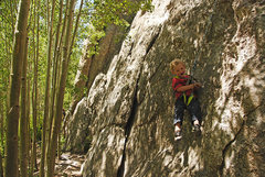 Rock Climbing Photo: First day swinging on the rope. He lost a little s...