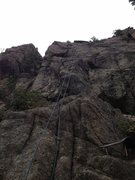 Rock Climbing Photo: The climb, the rope at the bottom is in the starte...